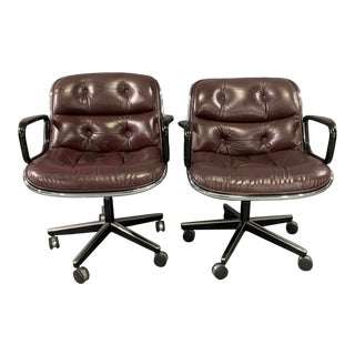1960s Vintage Charles Pollock for Knoll International Leather Executive Chairs- A Pair For Sale