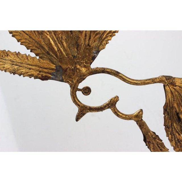 Metal Mid-Century Modern Plumed Bird Figure in Florentine Gold Leaf For Sale - Image 7 of 13