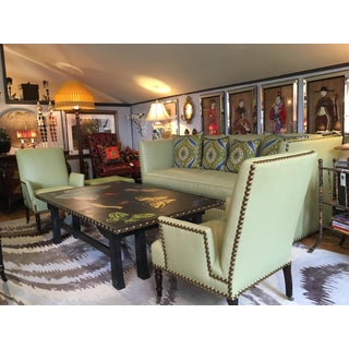 Vintage Lime Green Leather George Smith Club Chairs- A Pair Preview
