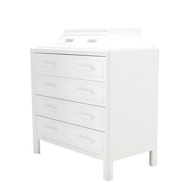 Very nice white lacquer high chest or dresser with very nice Greek key motive ornament.