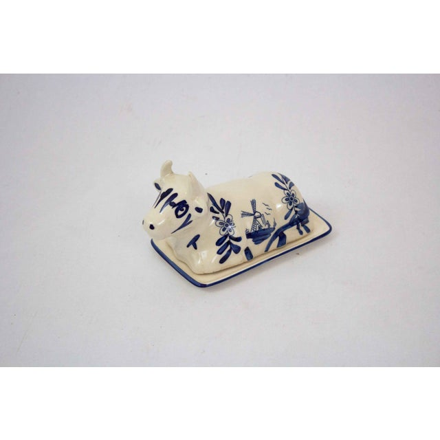 Ceramic Mid 20th Century Hand Painted Blue & White Cow Butter Dish For Sale - Image 7 of 7
