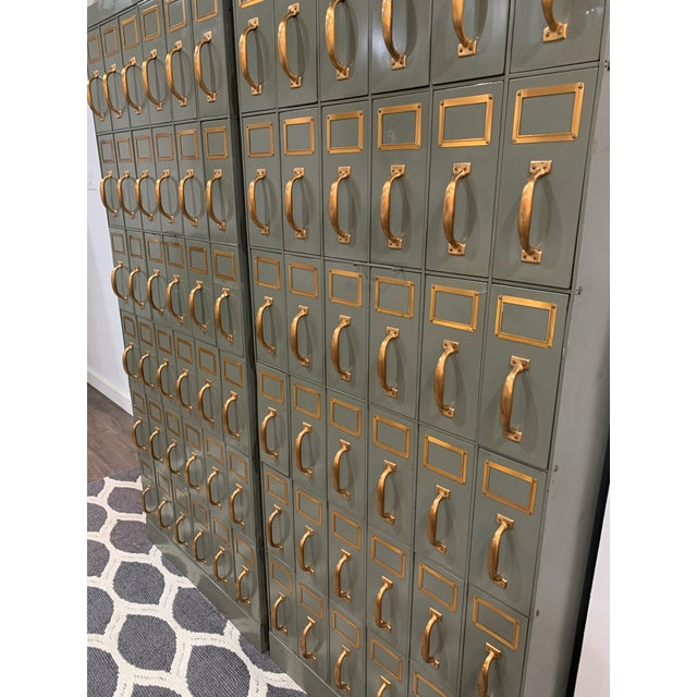 Mid 20th Century Vintage Industrial Filing Cabinets 36 Drawers-a Pair For Sale - Image 4 of 13