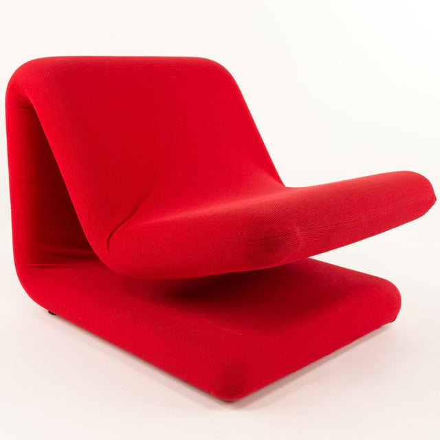 Red Pierre Paulin for Artifort Style Mid-Century Modern French Chair For Sale - Image 8 of 8