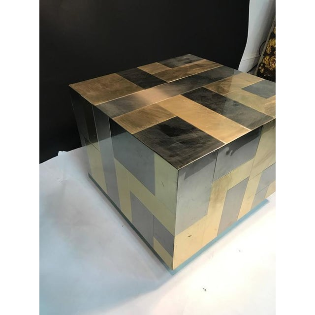 Gold UNUSUAL CUBE-SHAPED BRASS AND CHROME PATCHWORK TABLE BY PAUL EVANS For Sale - Image 8 of 9