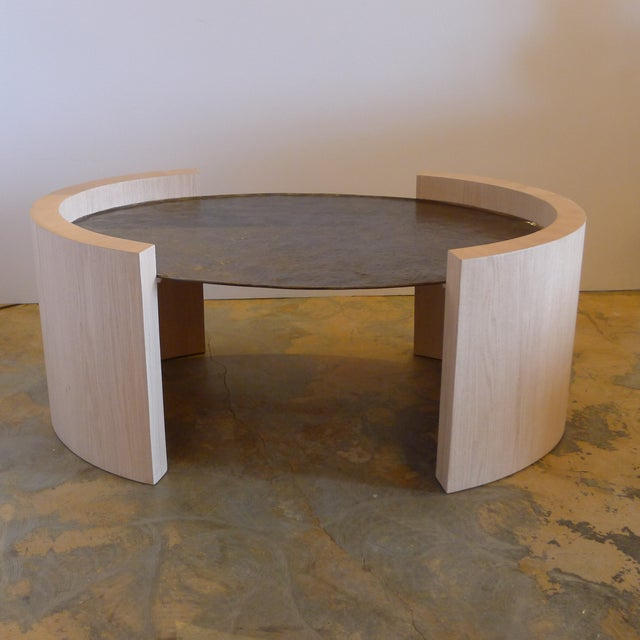 Contemporary Paul Marra Oval Oak and Hand Hammered Steel Cocktail Table For Sale - Image 3 of 8