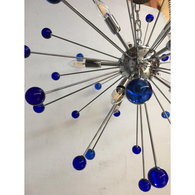 Contemporary Dark Blue Murano Glass Chandelier in Sputnik Style With a Chrome Frame For Sale - Image 3 of 6