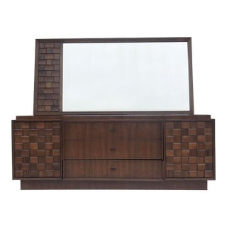 Mid-Century Modern Brutalist Dresser With Mirror For Sale