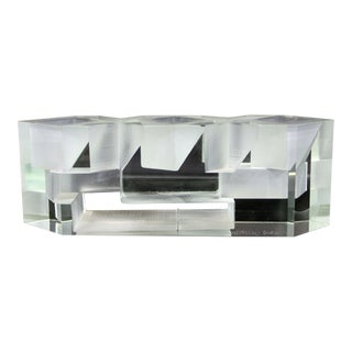 Contemporary Abstract Art Glass Table Sculpture Signed Steven Weinberg For Sale