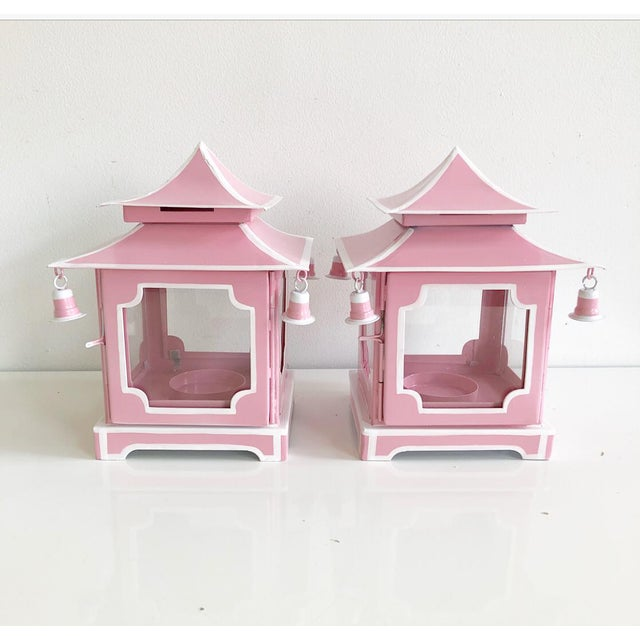 Asian Pair of Pink Pagoda Candle Lanterns With White Stripe Detail With Bells For Sale - Image 3 of 13