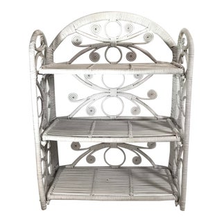 Vintage Three Tier Folding White Wicker Wall Shelf For Sale
