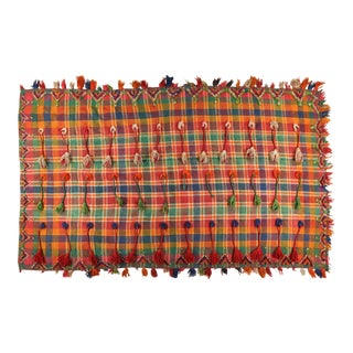 Berber Wool Plaid Throw With Tassels For Sale