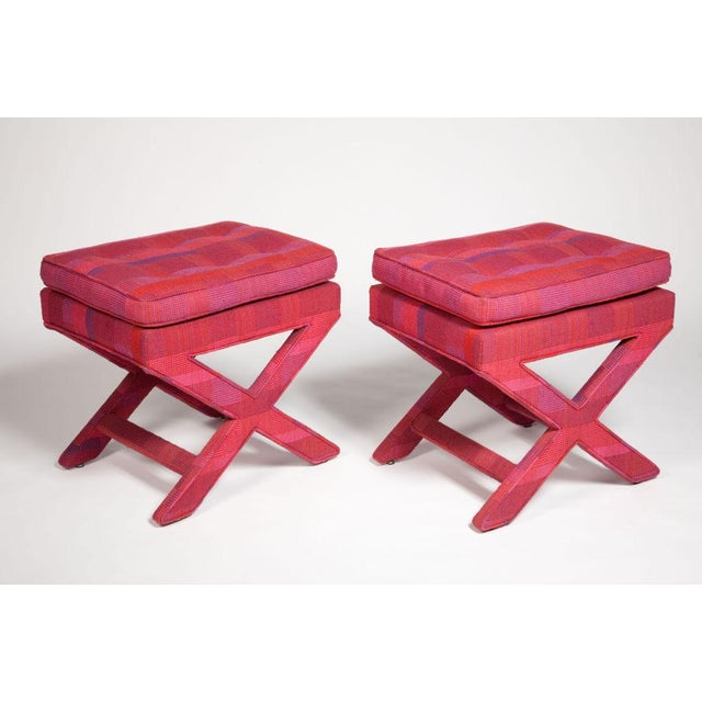 Mid-Century Modern Billy Baldwin Larsen Upholstered X-Benches - a Pair For Sale - Image 3 of 4