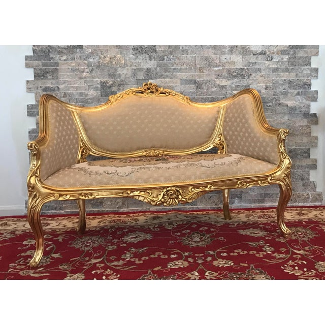Beech Modern Louis XV Love Seat For Sale - Image 7 of 7