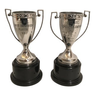 Small Silver Trophy Cups - a Pair
