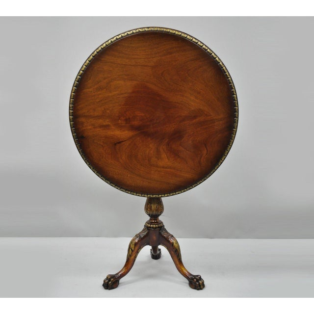 Chippendale Style Mahogany Pie Crust Tilt Top Tea Table with Ball and Claw Feet For Sale - Image 13 of 13