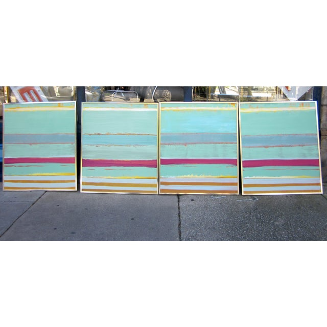 1980s Vintage Four Panel Abstract Geometric Seaside Pastel Horizontal Line Paintings - Set of 2 For Sale - Image 12 of 12