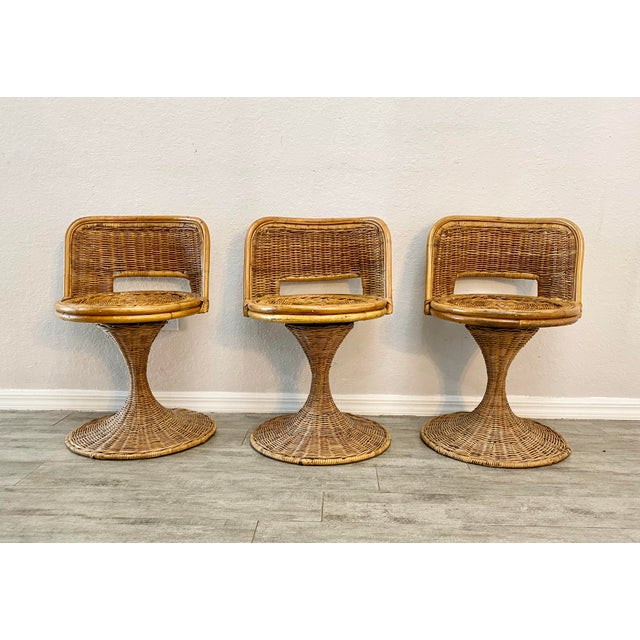 Wood Mid Century Modern Danny Ho Fong Woven Rattan Swivel Chairs - Set of 3 For Sale - Image 7 of 7