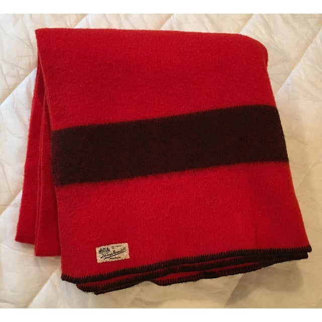 """This is a vintage Henry Morgan & Company of Montreal red and black wool blanket. Blanket has black whipstitching and 4""""..."""