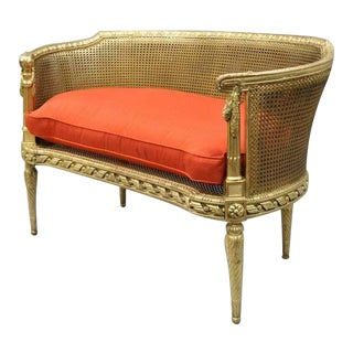 1900s Antique French Louis XVI Style Gold Cane Giltwood Oval Settee Loveseat Bench For Sale