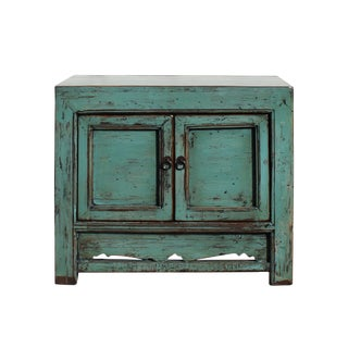 Oriental Distressed Aqua Green Lacquer Side End Table Nightstand For Sale