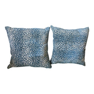 Cowtan & Tout Zanzibar Teal Animal Print Pillows - A Pair For Sale