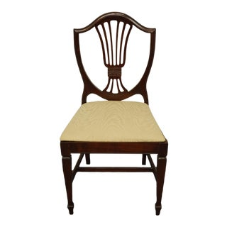 High End Vintage Solid Cherry Duncan Phyfe Shield Back Dining Side Chair 365-4859 in Wine Finish For Sale
