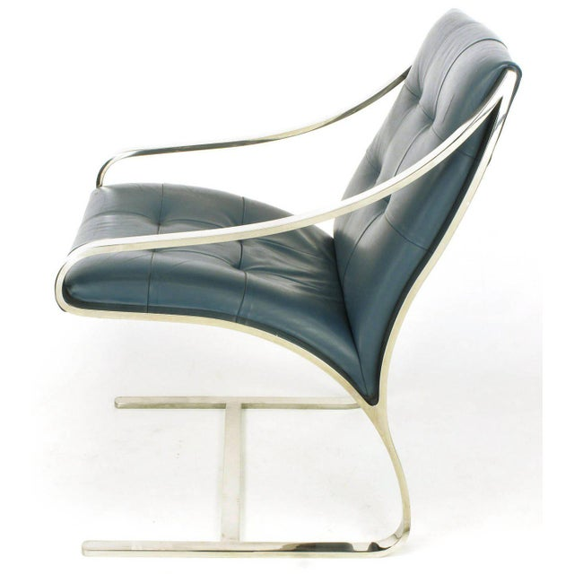 Four Bert England for Brueton Polished Steel & Cadet Blue Leather Lounge Chairs - Image 5 of 10