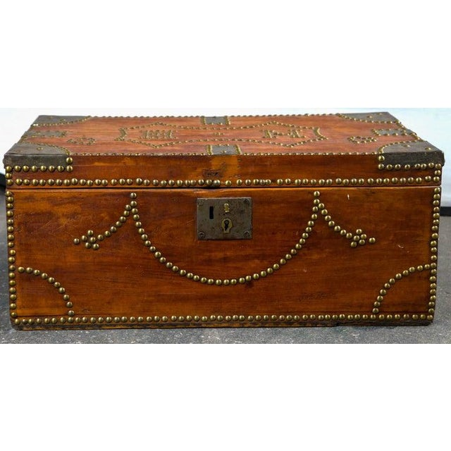19th Century Tack Decorated Trunk For Sale - Image 4 of 8