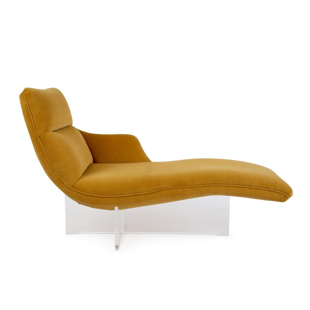 """Beautiful """"Erica"""" chaise designed by Vladimir Kagan that floats atop an elegant Lucite base. Newly upholstered in a rich..."""