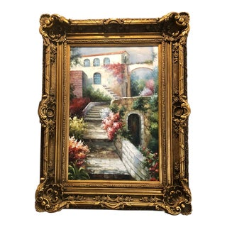 "Oil Painting Mediterranean Scene Molded Frame - Large 49"" For Sale"