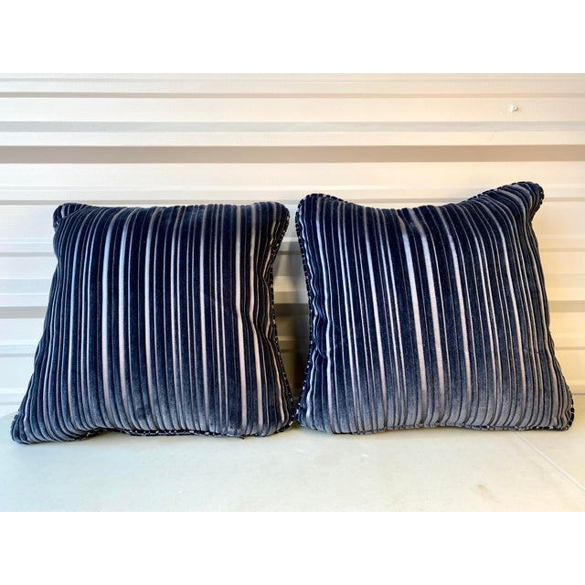 Contemporary Contemporary Navy Blue Stripped Pillows - a Pair For Sale - Image 3 of 5