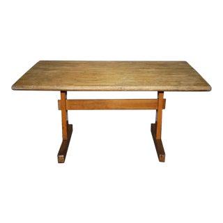 Vintage 5 Ft. Maple Trestle Base Table For Sale
