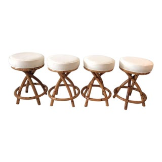 1970s Vintage Boho Chic Rattan Counter Stools- Set of 4 For Sale