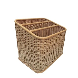 Vintage Modern Bent Wood & Woven Rattan Magazine Stand or Organizer For Sale