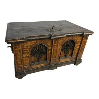 1800s Antique Gothic Style Figural Inlay Front Bible Storage Box For Sale