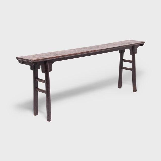 Wood 18th Century Chinese Ming Form Elm Console Table For Sale - Image 7 of 7