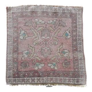 Distressed Vintage Turkish Floral Rug 2′2″ × 2′2″ For Sale