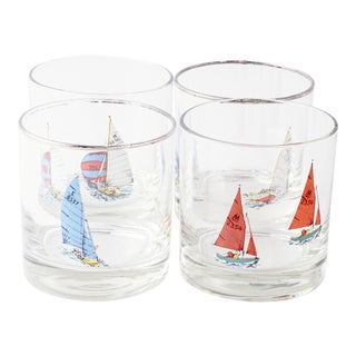 Nautical Rocks Glasses W/ Silver Rim For Sale