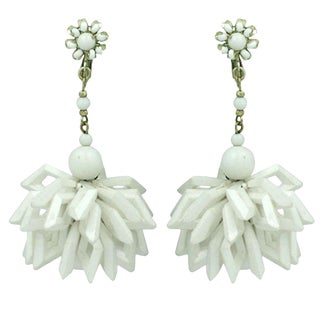 Miriam Haskell Summer White Earrings For Sale
