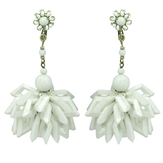 Miriam Haskell Summer White Earrings For Sale