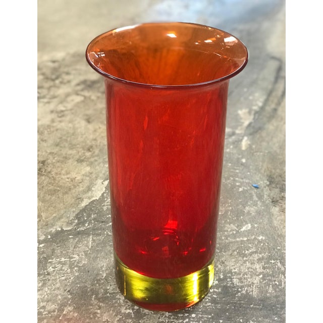 1960s Seguso Murano Red Opalescent Cylindrical Italian Art Glass