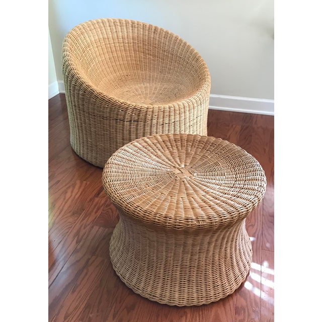Eero Aarnio Mid Century Modern Wicker Lounge Chair and Ottoman For Sale - Image 11 of 11