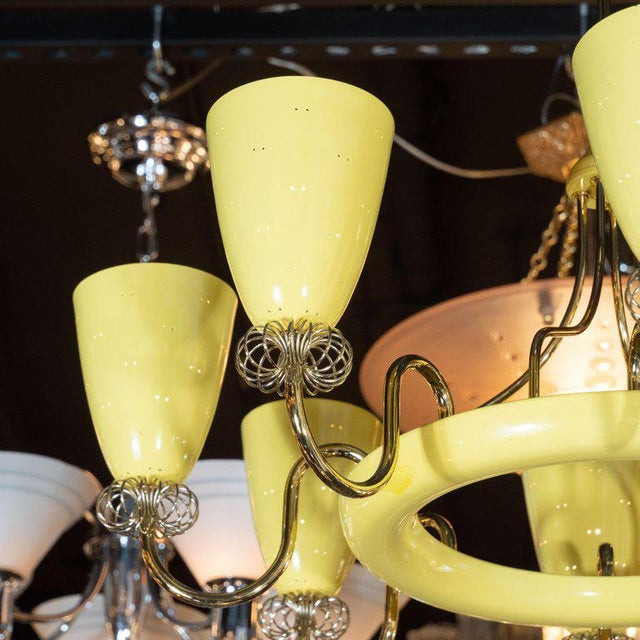 French Mid-Century Modern Brass and Yellow Enamel Eight-Arm Chandelier For Sale - Image 4 of 7