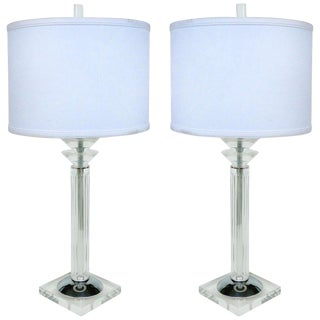 1993 Bauer Lucite, Chrome & Glass Table Lamps - a Pair For Sale