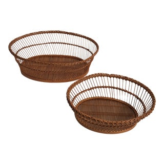 Oval Woven Baskets - A Pair