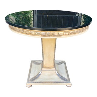 Charles Pollock Art Deco Side Table W Black Marble Top in Chateau White & Silver Leaf 1 of 2 For Sale
