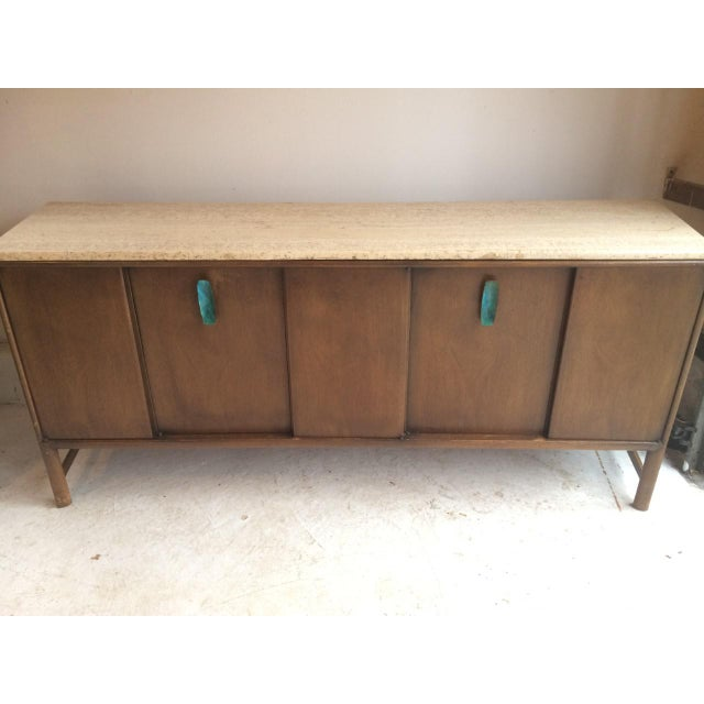 Ray Sabota for John Stuart Curved Credenza With Optional Travertine Stone Top For Sale - Image 10 of 11