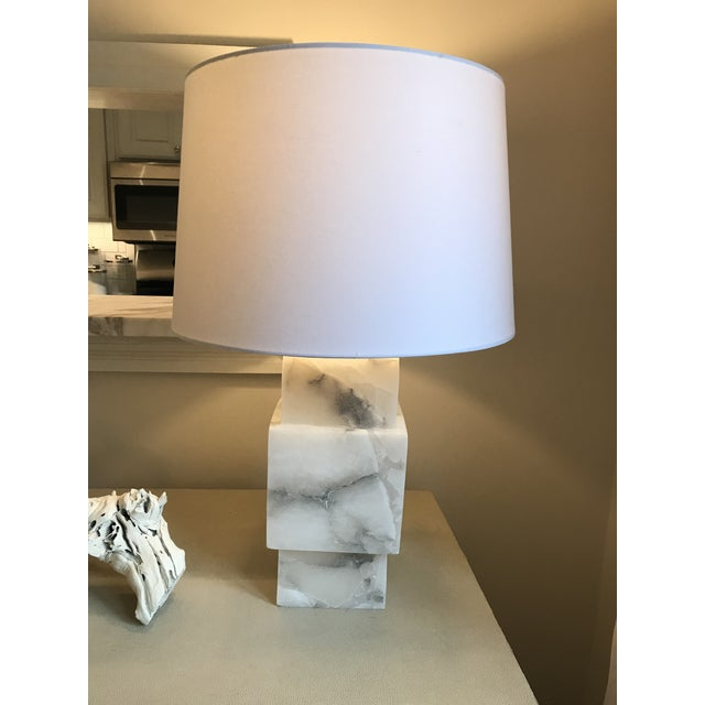 Minimalist Modern Alabaster Lamp With Shade For Sale In Atlanta - Image 6 of 6