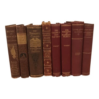 Burgundy & Brown Decorative Books - Set of 8 For Sale