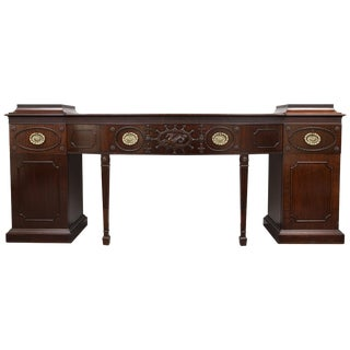 English Regency Style Mahogany Bowfront Pedestal Sideboard For Sale
